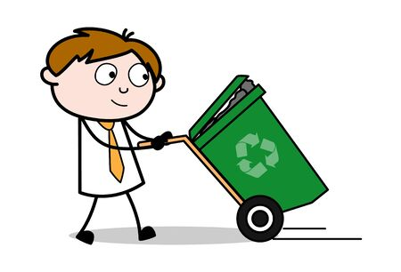 Holding a Dustbin - Office Salesman Employee Cartoon Vector Illustration
