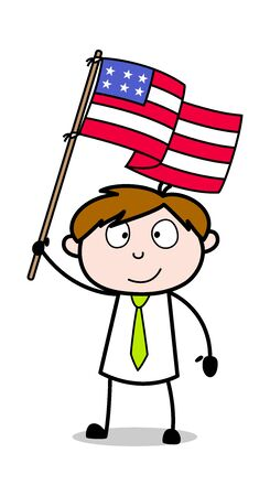 Happy 4th of July - Office Salesman Employee Cartoon Vector Illustration