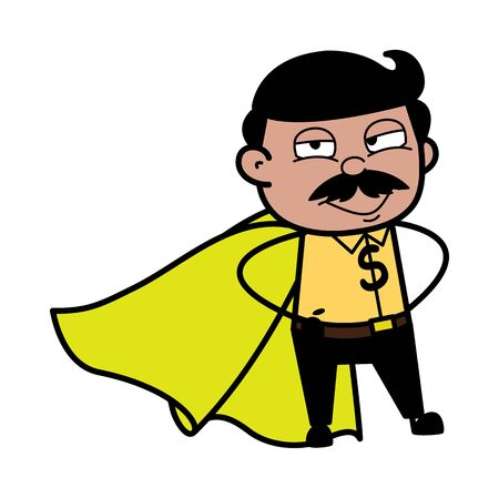 Man in a Super Hero Costume - Indian Cartoon Man Father Vector Illustration 向量圖像