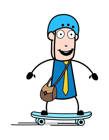 Skateboarding - Retro Postman Cartoon Courier Guy Vector Illustration
