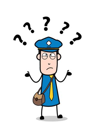 Confused - Retro Postman Cartoon Courier Guy Vector Illustration