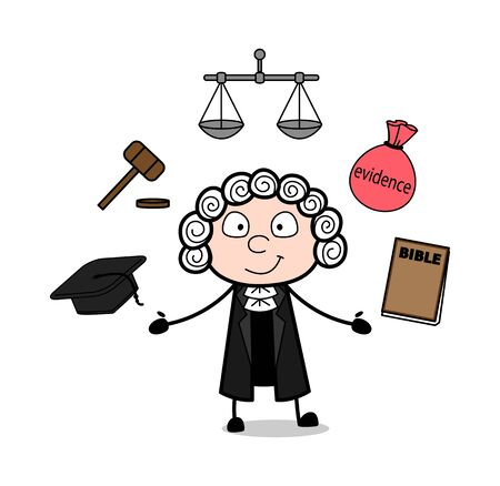 Cartoon Magistrate Presenting Many Options Vector Illustration