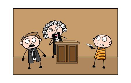 Thief Showing Gun and Lawyer and Judge are Getting Afraid Vector Illustration