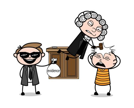 Cartoon Lawyer Shows Evidence and Judge Hitted Gavel on Criminal Head Vector Illustration