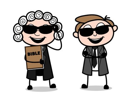 Cool Cartoon Magistrate and Lawyer Vector Illustration Illustration