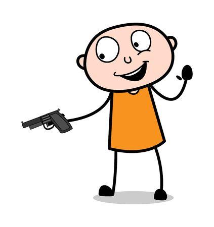 Giving a Gun - Cartoon thief criminal Guy Vector Illustration Illustration