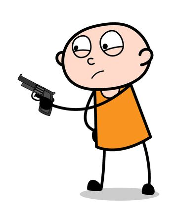 Giving Warning by Showing Gun - Cartoon thief criminal Guy Vector Illustration