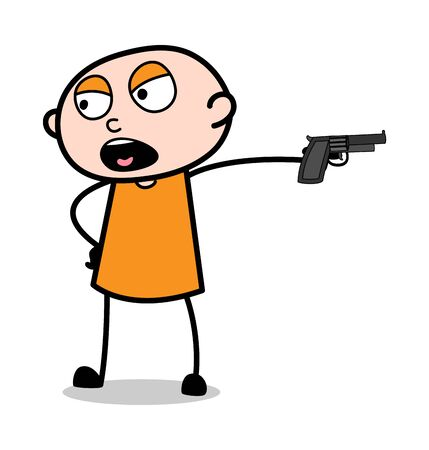 Cruel Thief with Gun - Cartoon thief criminal Guy Vector Illustration Illustration