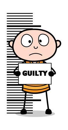 Feeling Guilty - Cartoon thief criminal Guy Vector Illustration