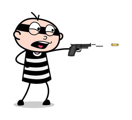 Tir avec pistolet - Cartoon voleur criminel Guy Vector Illustration
