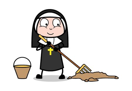Brooming - Cartoon Nun Lady Vector Illustration Illustration