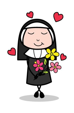 Feeling Loved with Flowers - Cartoon Nun Lady Vector Illustration  イラスト・ベクター素材