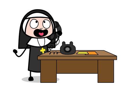Talking on Phone - Cartoon Nun Lady Vector Illustration