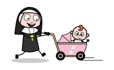 Running with Baby in Pram - Cartoon Nun Lady Vector Illustration Ilustração