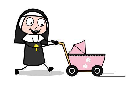 Walking with Pram - Cartoon Nun Lady Vector Illustration