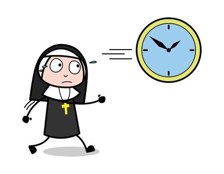 Getting Late - Cartoon Nun Lady Vector Illustration Ilustração