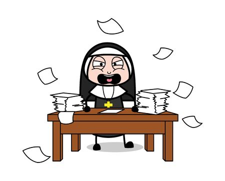 Shouting and Throwing Papers - Cartoon Nun Lady Vector Illustration