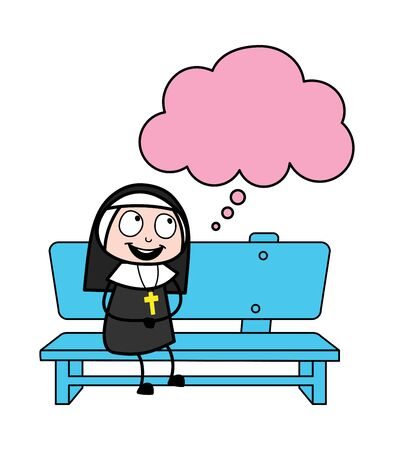 Smiling and Thinking a Plan - Cartoon Nun Lady Vector Illustration