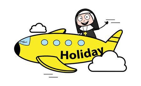 Going in Plane for Holidays - Cartoon Nun Lady Vector Illustration