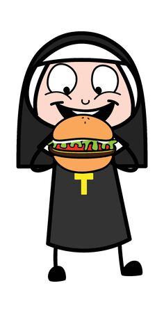 Eating Burger - Cartoon Nun Lady Vector Illustration