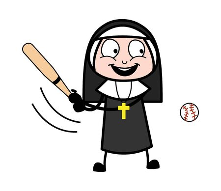 Playing Cricket - Cartoon Nun Lady Vector Illustration