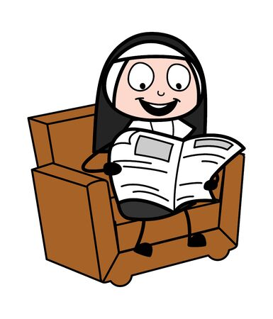 Reading Newspaper - Cartoon Nun Lady Vector Illustration Illustration