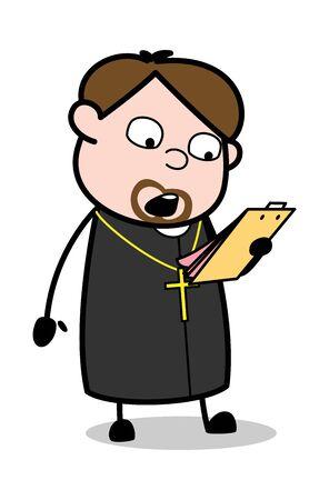 Reading Instructions - Cartoon Priest Monk Vector Illustration