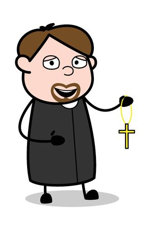 Showing a Holy Cross Pendant - Cartoon Priest Monk Vector Illustration