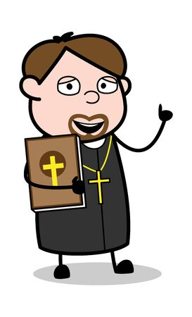 Holding a Bible Book and Gesturing with Hand - Cartoon Priest Monk Vector Illustration