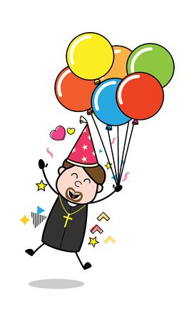 Flying with Balloons - Cartoon Priest Monk Vector Illustration