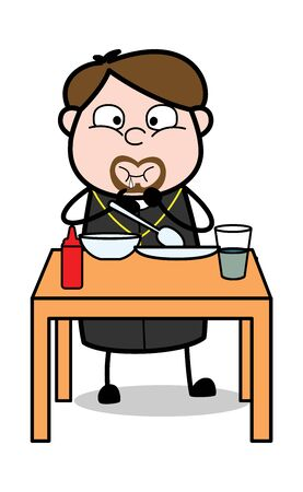 Eating Dinner - Cartoon Priest Monk Vector Illustration Иллюстрация