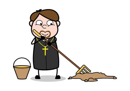 Brooming and Cleaning Dust - Cartoon Priest Monk Vector Illustration