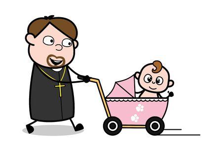 Walking with Baby Pram - Cartoon Priest Monk Vector Illustration Ilustração