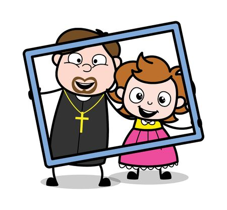 Holding a Frame - Cartoon Priest Monk Vector Illustration 向量圖像