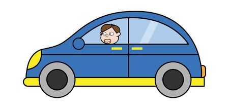Driver in the Car - Cartoon Priest Monk Vector Illustration Иллюстрация