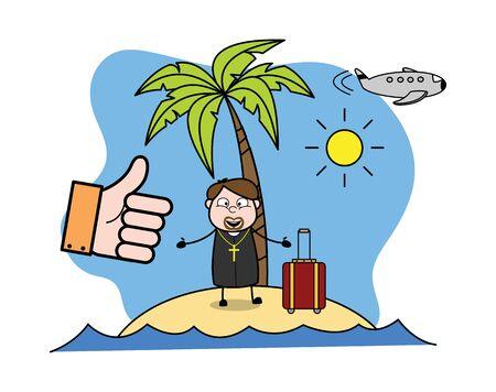 Vacation at Beach - Cartoon Priest Monk Vector Illustration Vektoros illusztráció