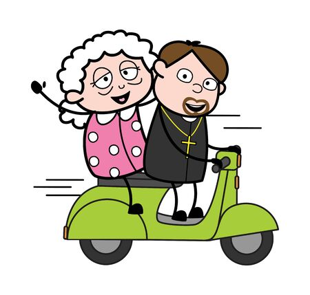 Riding Scooter with Grandma - Cartoon Priest Monk Vector Illustration Иллюстрация