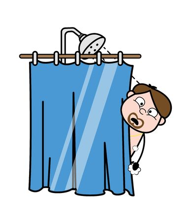 Watching Surprisingly While Taking a Shower - Cartoon Priest Monk Vector Illustration Иллюстрация
