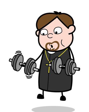 Doing Gym - Cartoon Priest Monk Vector Illustration
