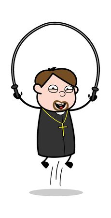 Playing Skipping Rope - Cartoon Priest Monk Vector Illustration