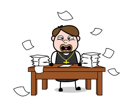 Angry Priest Throwing Papers - Cartoon Priest Monk Vector Illustration