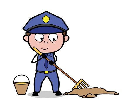 Brooming - Retro Cop Policeman Vector Illustration Illustration