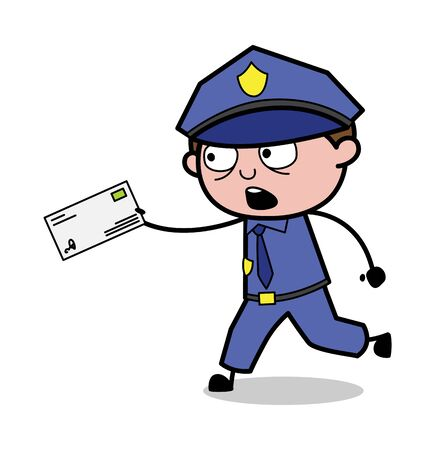 Running in a Hurry with a Envelope - Retro Cop Policeman Vector Illustration Illustration