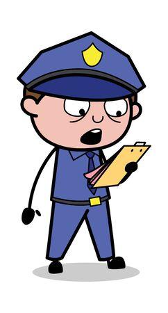 Announcing Rules - Retro Cop Policeman Vector Illustration