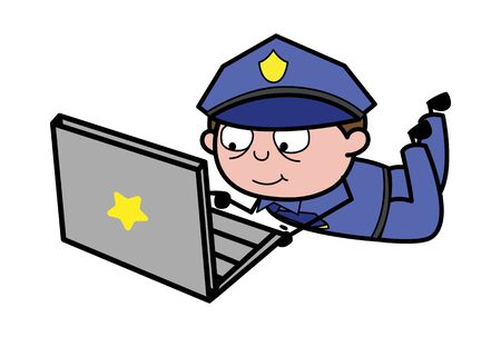 Working on Laptop - Retro Cop Policeman Vector Illustration