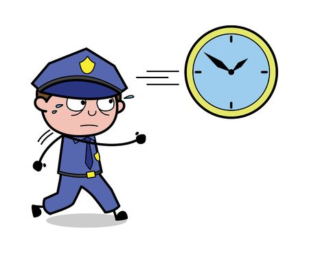 Running Behind the Clock - Retro Cop Policeman Vector Illustration 일러스트