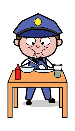 Having Lunch - Retro Cop Policeman Vector Illustration