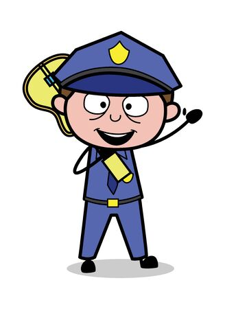 Holding a Guitar and Gesturing with Hand - Retro Cop Policeman Vector Illustration