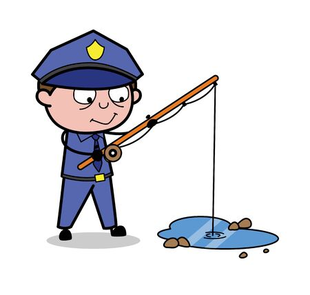 Fishing with Fishing Rod - Retro Cop Policeman Vector Illustration