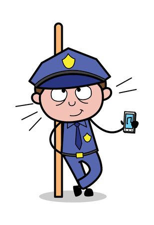 Showing Music Device - Retro Cop Policeman Vector Illustration  イラスト・ベクター素材